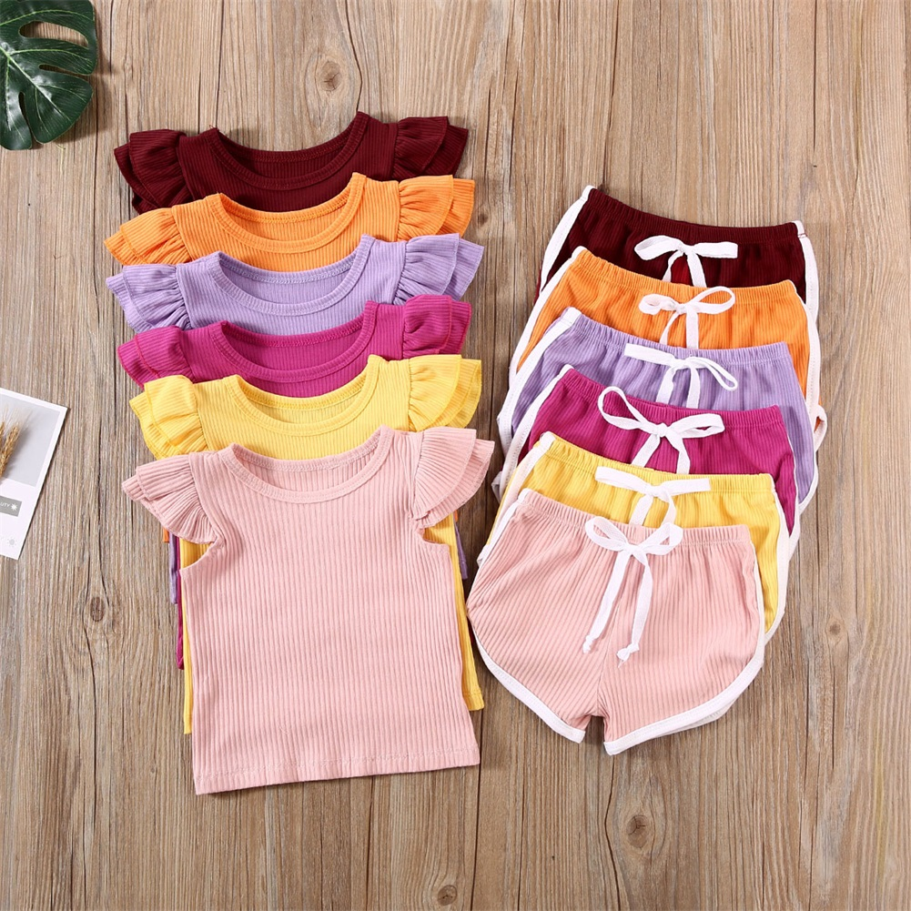 US Newborn Kid Baby Girl 12M-5T Summer Outfit Clothes Set T-shirt Top Pants Shorts 2PCS