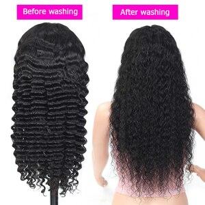 Прозрачные кружевные парики 13x4 кружева передние парики глубокая волна парик бразильский фронта шнурка человеческих волос парики для женщи...
