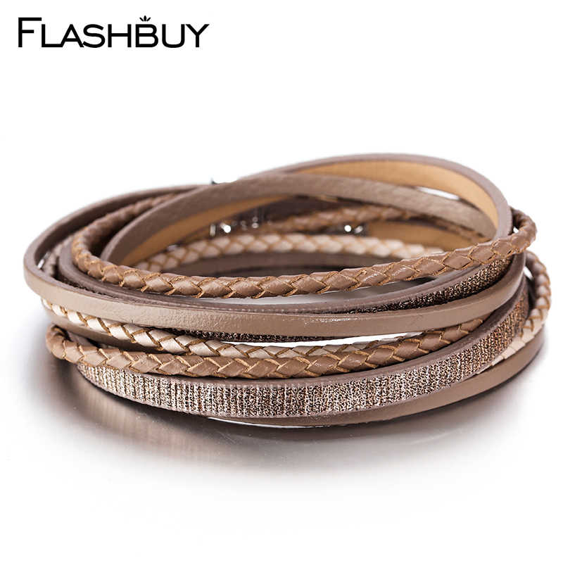 Flashbuy 5 Color Multiple Layers Bracelets For Women Vintage Magnetic Wrap Bracelets Charms Jewelry Femme Accessories