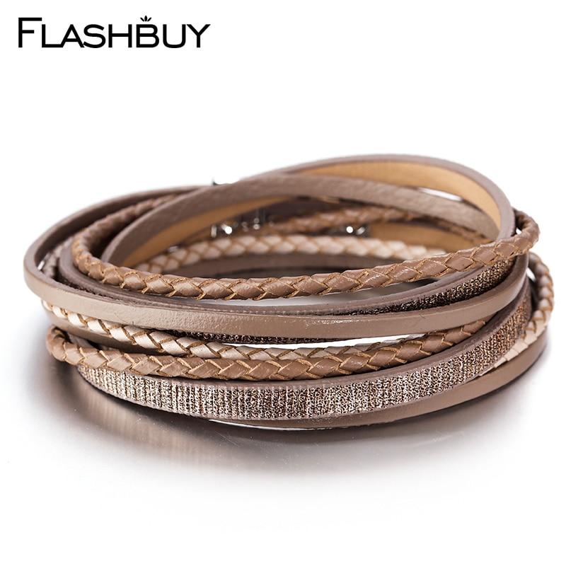 Flashbuy 5 couleurs multiples couches bracelets pour Femme Vintage magnétique bracelets d'enveloppement bijoux à breloques Femme accessoires