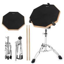 Kmise малый барабан практика Pad 12-дюймовый немой двойной бортовой барабаны перкуссия комплект с подставкой палочки для начинающий студент