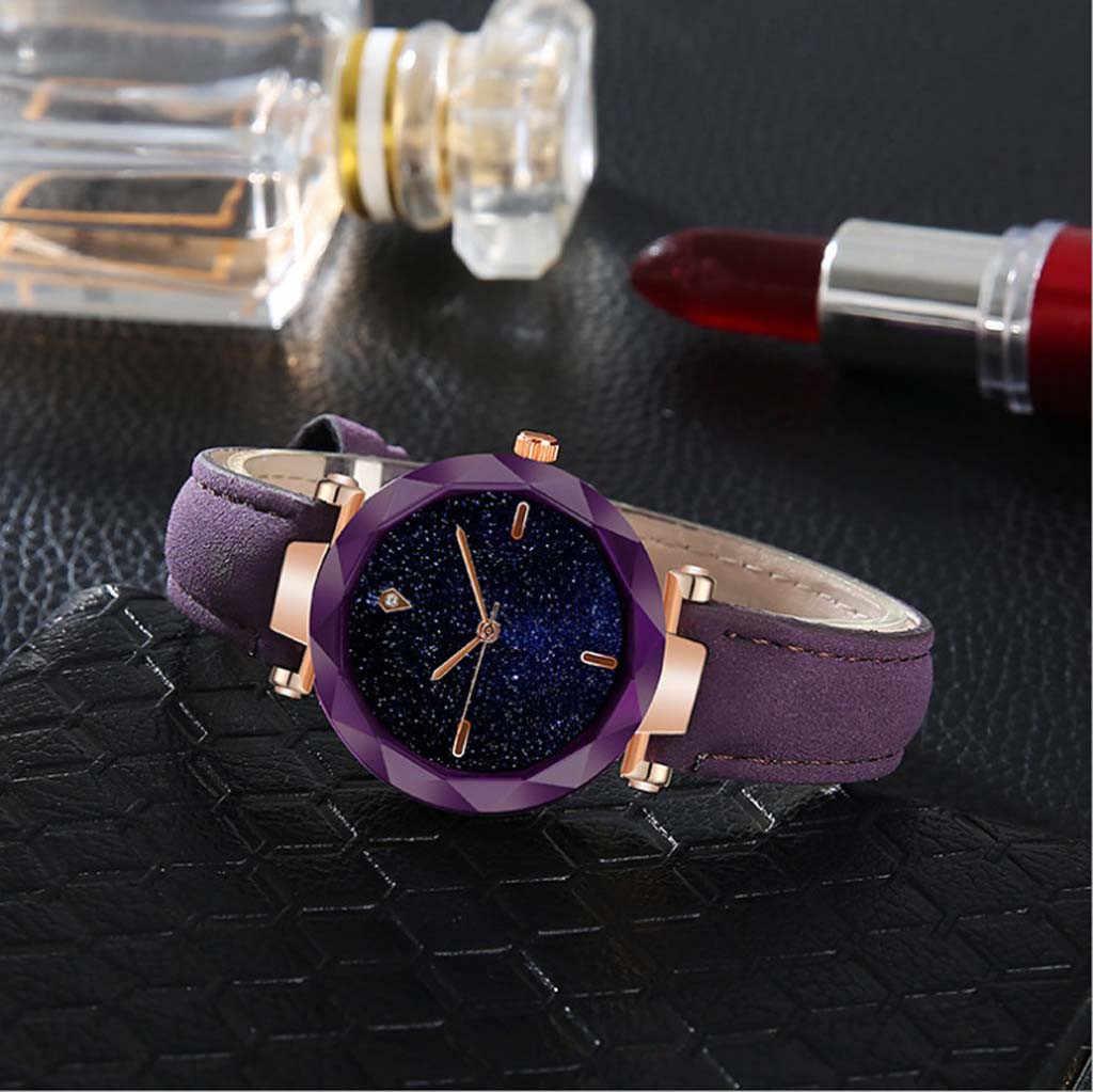 Reloj de pulsera para mujer montre femme 2019 Simple y elegante lujoso esfera estrellada convexa espejo correa de cuero reloj regalos para mujeres