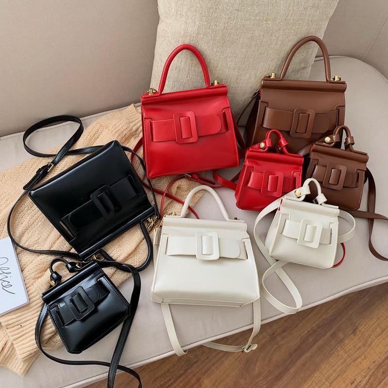 Women Vintage Cute Red Satchel Totes Handbag Brown Retro Small Capacity Messenger Crossbody Shoulder Bag 2020 Spring Mew Mini