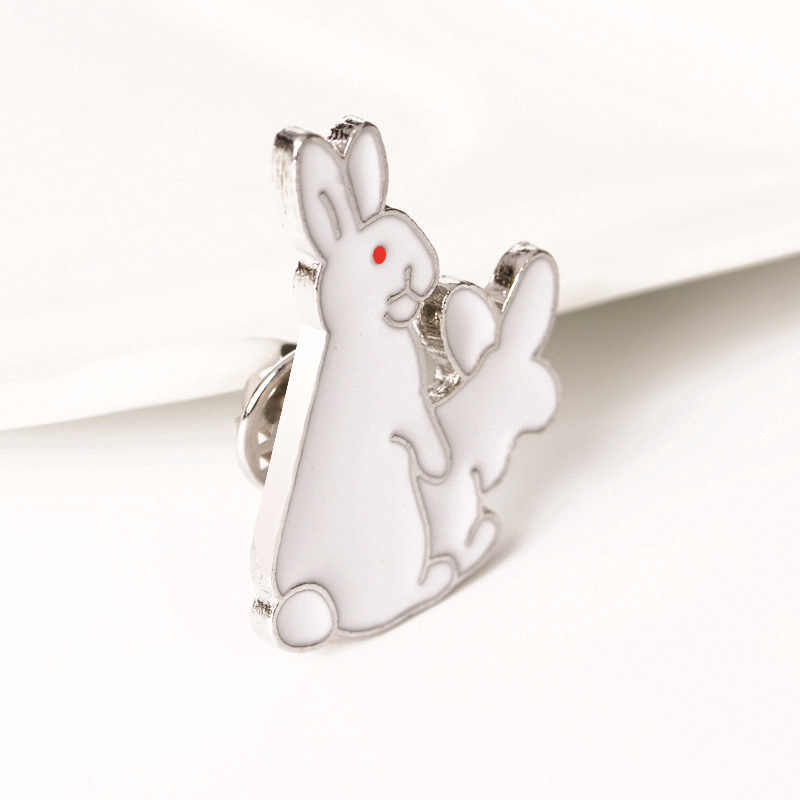 Đáng yêu Thỏ Trắng Thổ Cẩm Ác Động Vật Coniglio Bunny Men Chân Kim Loại Cho Nữ Lưng Phối Áo Sơ Mi Túi Huy Hiệu Thổ Cẩm BIJOUX