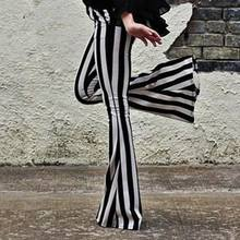 Women Striped High Waist Flare Wide Legging Trousers Bell Bottom Yoga Long Pants Casual WHShopping(China)