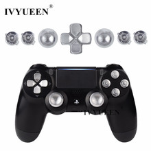 IVYUEEN For Playstation Dualshock 4 PS4 Pro Slim Controller Silver Metal Analog Thumb Sticks Dpad 9mm Bullet Buttons Mod Kit