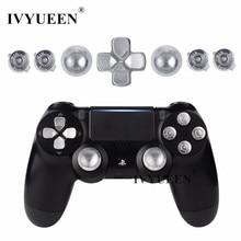 IVYUEEN For Playstation Dualshock 4 PS4 Pro Slim Controller Silver Metal Analog Thumb Sticks Dpad 9mm Bullet Buttons Mod Kit
