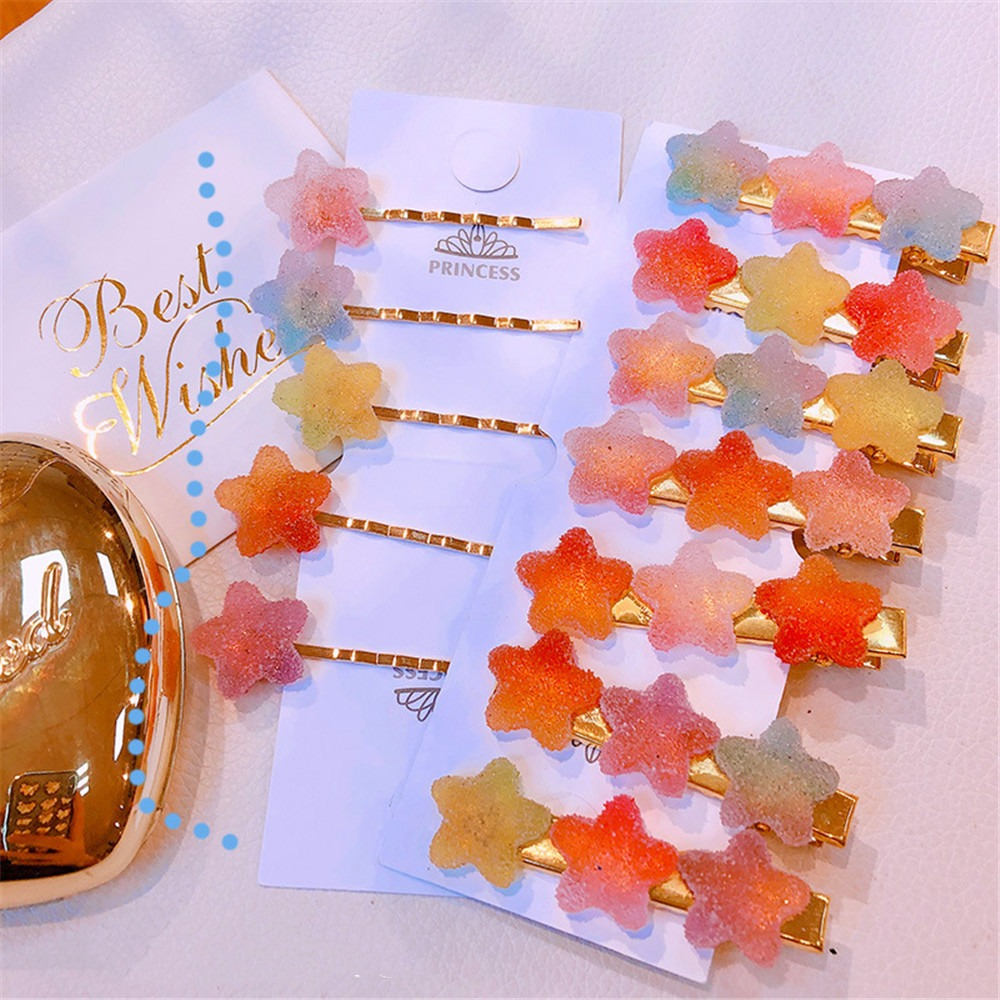 1pcs Korean Fashion Soft Candy Solid Color Star Word Folder Duckbill Clip Small Hair Women Girls Clips Headwear Hair Accessory