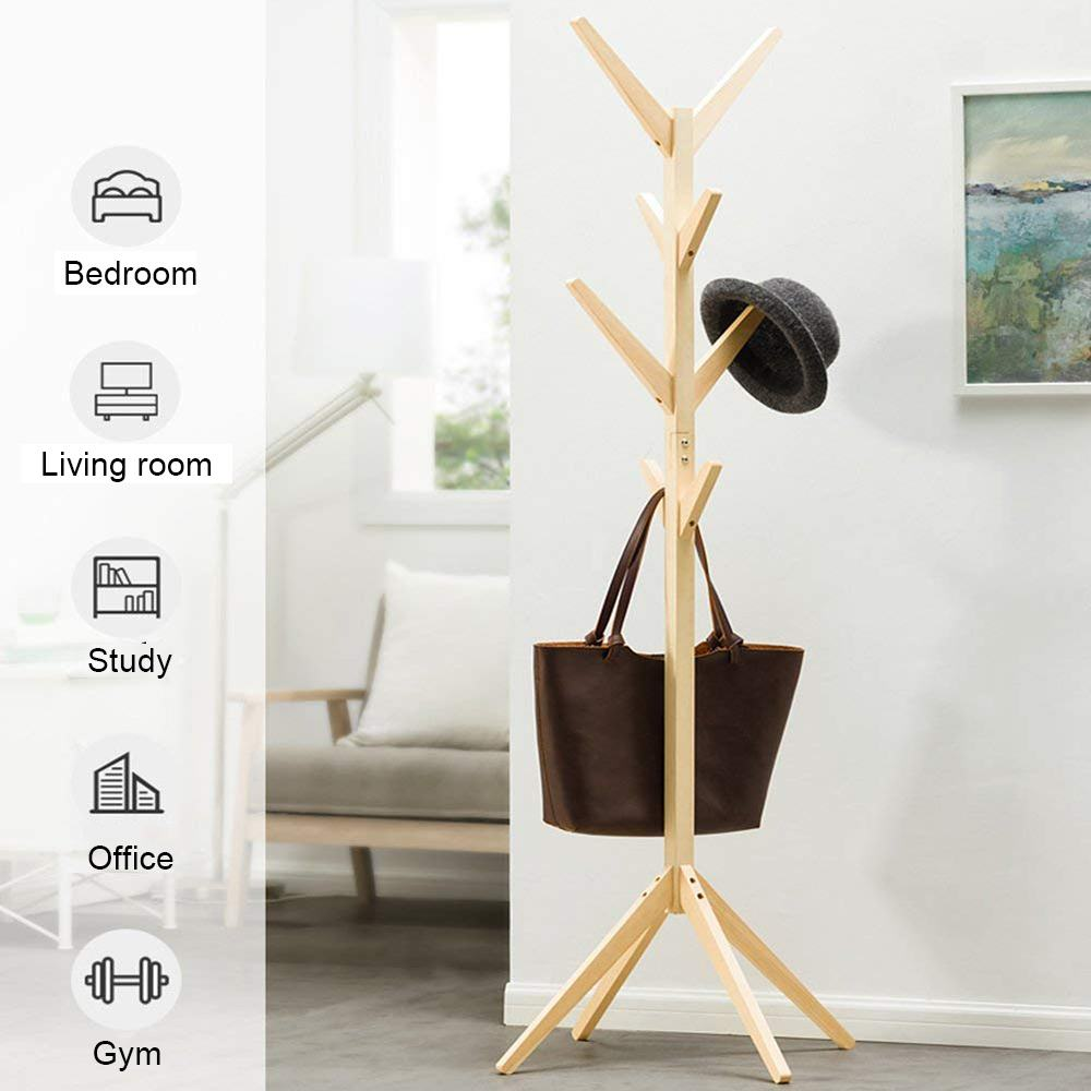 Solid Wood Hanger 8 Hooks Floor Standing Coat Racks Home Furniture Storage Clothes Hanging Wooden Hanger Bedroom Drying Rack