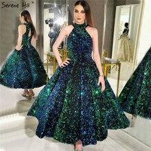 Xanh Cổ Tròn Gợi Cảm Cao Cấp Mắt Cá Chân Chiều Dài Váy Dạ Hội Năm 2020 Áo Kim Sa Lấp Lánh Form Đầm Suông Thanh Thoát Đồi HA2063