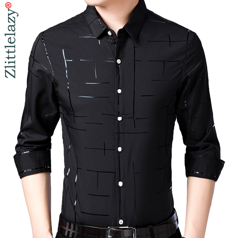 2019 brand casual plaid luxury plus size long sleeve slim fit men shirt spring social dress shirts mens fashions jersey 41607(China)