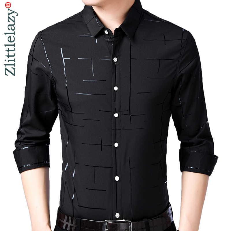 2019 di marca casual plaid di lusso più il formato a maniche lunghe slim fit camicia degli uomini primavera sociale camice di vestito mens moda jersey 41607