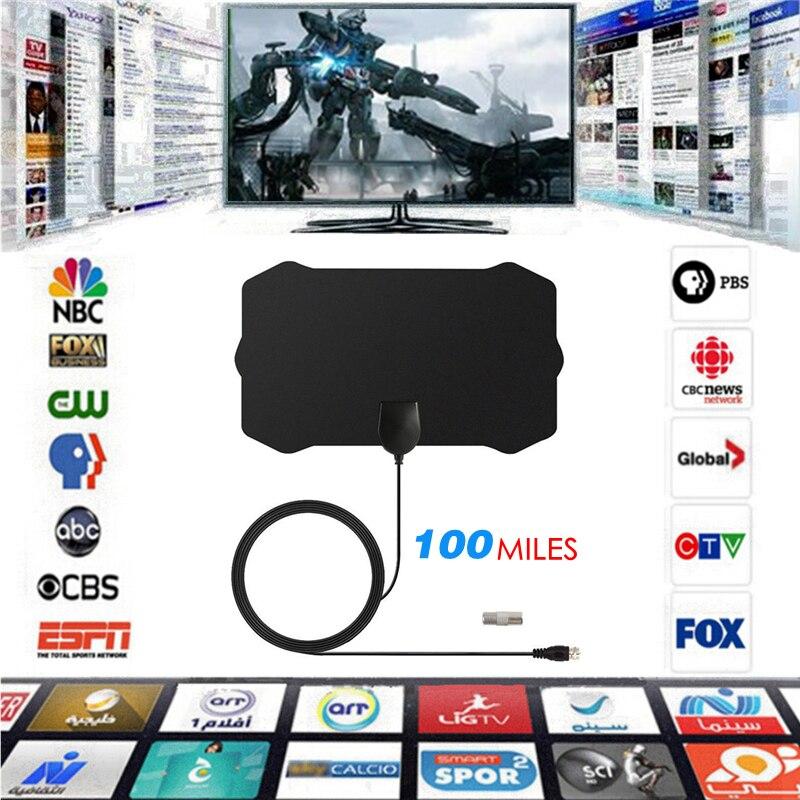 100 Miles HD 1080P antenne de télévision numérique intérieure antenne HDTV DVB-T/T2 DVB T/T2 DVBT2 antenne de télévision par câble UHF VHF antennes DTV antenne aérienne