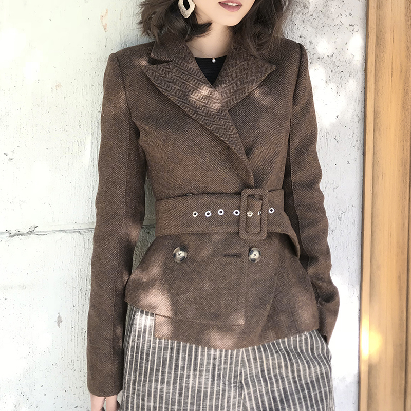 Office Lady Double Breasted Jackets Vintage Woolen Slim Long Sleeves With Blet Short Suit Jacket Female Femenino Blazer 2019