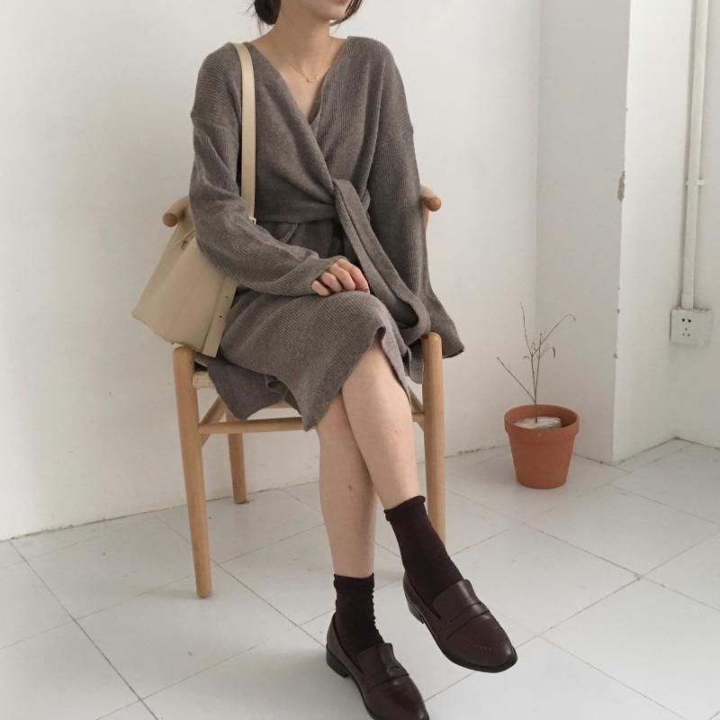 Hab3f63bf224646c2a4de183f03a7c588F - Winter Korean V-Neck Long Sleeves Knitted Dress