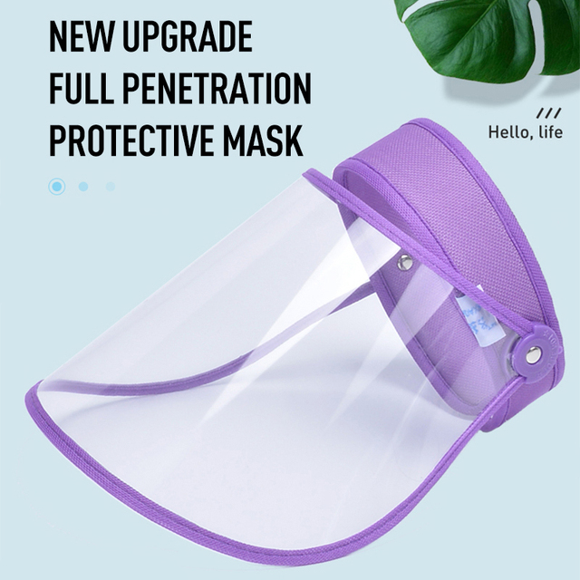 1Pcs High-definition Transparent Face Shield Cap Anti-Saliva Splash Anti-droplet Face Mask Windproof Sun Visor Cover 1
