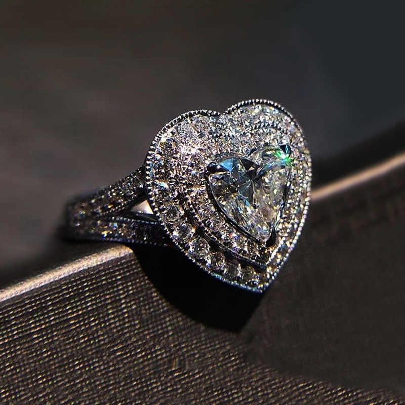 หญิงหรูหราหัวใจรักแหวนแฟชั่นคริสตัล Zircon งานแต่งงานแหวนน่ารักโรแมนติกแหวนเงิน