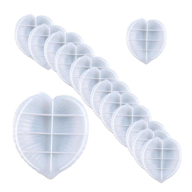 14Pcs Leaf Disc Fruit Snack Storage Silicone Diy Crystal Glue Mold