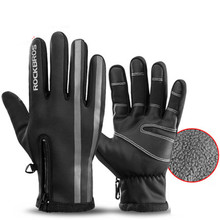 ROCKBROS Winter Warm Thermal Cycling Gloves Reflective Touch Screen Full Finger MTB Road Bike Windproof