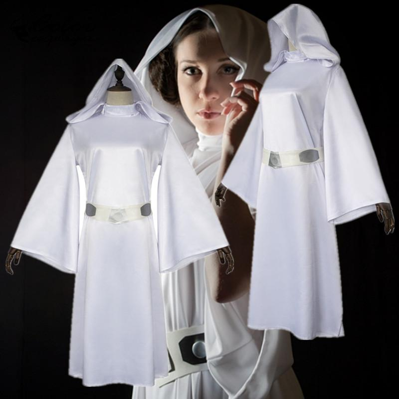 Color Cosplayer Purim Carnival Cos Princess Leia Organa Cosplay Costume Woman White Long Dress Belt Star Wars Cos Costume