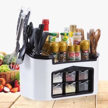 Caja de condimento de cocina recipiente de especia estante organizador Kinfe soporte bloque de almacenamiento de estante de cocina multifuncional