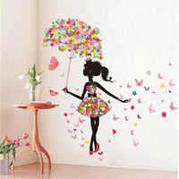 Wall Sticker flower girl removable wall art sticker vinyl decal for decor kids room living home mural decoration supplies