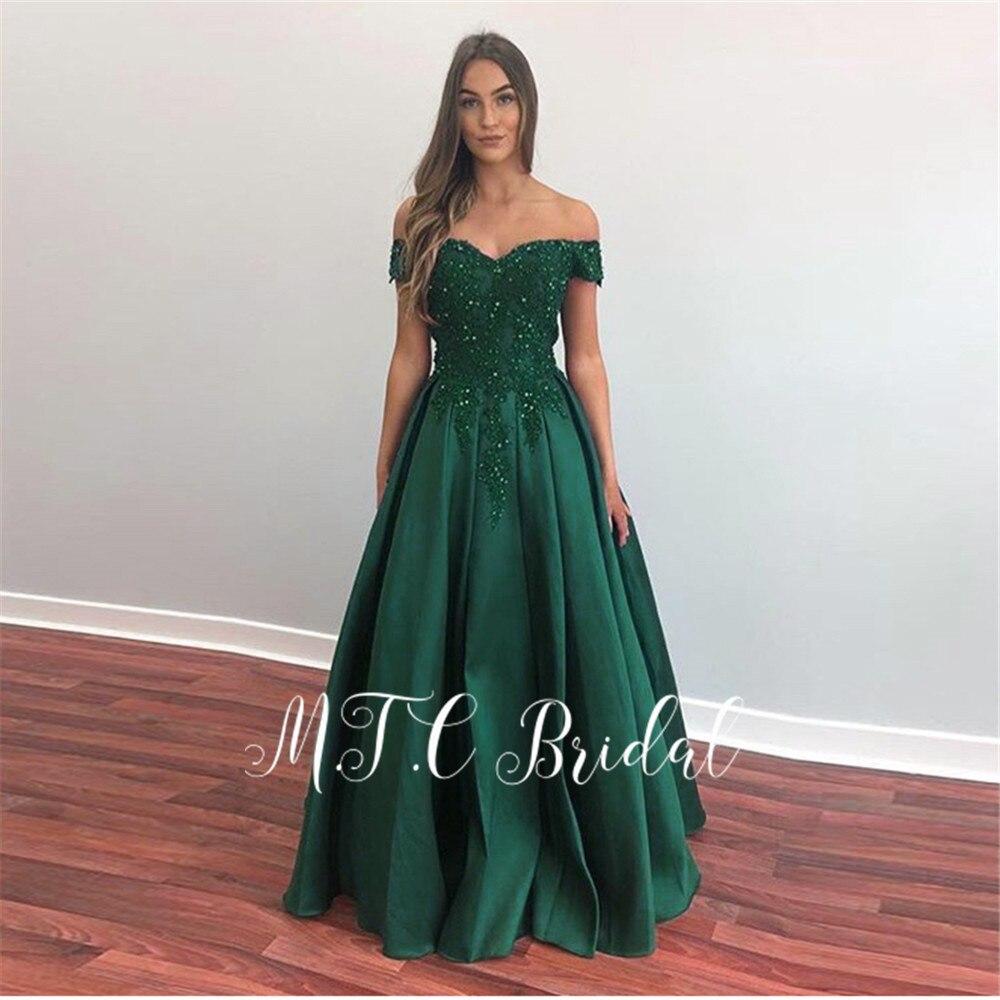 Gros vert longue robe de soirée 2019 dentelle perlée hors de l'épaule une ligne formelle Occasion femmes robes de soirée pas cher