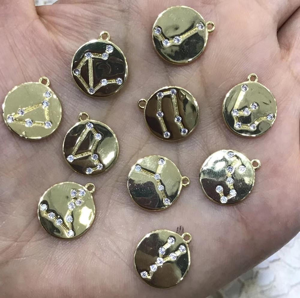 12pcs Gold brass stearling silver round disc with 12 Constellations Charm Pendants Carved Zodiac Charm earrings
