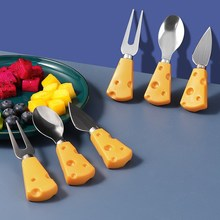 Cute Cartoon Stainless Steel Fork Spoon Set Non-slip ABS Handle Dessert Fruit Cake Cheese Fork Home Kitchen Tools