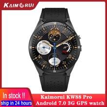 Kaimorui relogio inteligente men feminino pedômetro de freqüência cardíaca android 7.0 esporte bluetooth kw88 pro gps relógio smartwatch de fitness rastreador para android ios