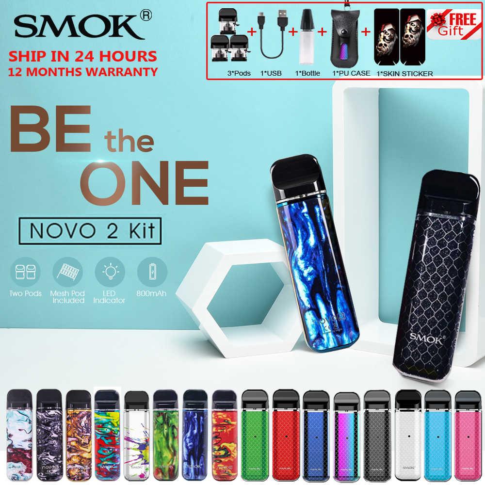オリジナル SMOK ノボ 2 キット SMOK ポッド新鮮な蒸気を吸うこと電子タバコスターターキットスティック蒸気を吸うペン 800 バッテリー 2 ミリリットルコイル VS ノール