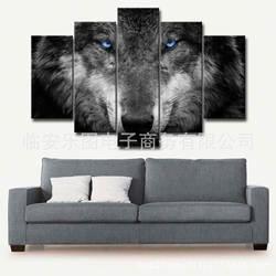 Пересечение границы горячие продажи внешней торговли современный 5 суставов бескаркасных животных холст живопись гостиной волк