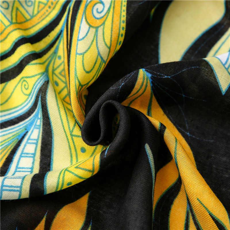 2020 donne di Autunno Giallo Foglie Nappa Floreale Viscosa Sciarpa di Lusso di Marca Scialle di Pashmina di Stampa Foulard Musulmano Hijab Caps 180*100 centimetri
