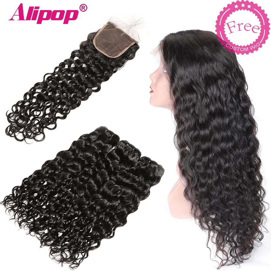 Water Wave Bundles With Closure Can Customize Into A Brazilian Water Wave Curly Wig Remy Human Hair Bundles With Closure ALIPOP