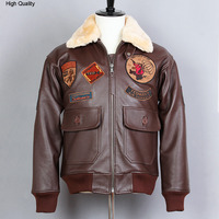 fly avaitor genuine leather Jacket men paratrooper Fur Collar real leather coat men's Brown Cowhide G1 Bomber Jacket