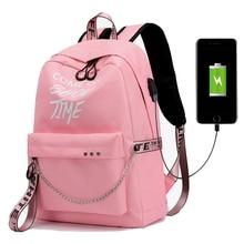 جديد USB شحن مضيئة سلسلة النايلون الإناث حقيبة كتب على ظهره حقيبة مدرسية حقيبة مدرسية السفر حزمة النساء لفتاة المراهقين