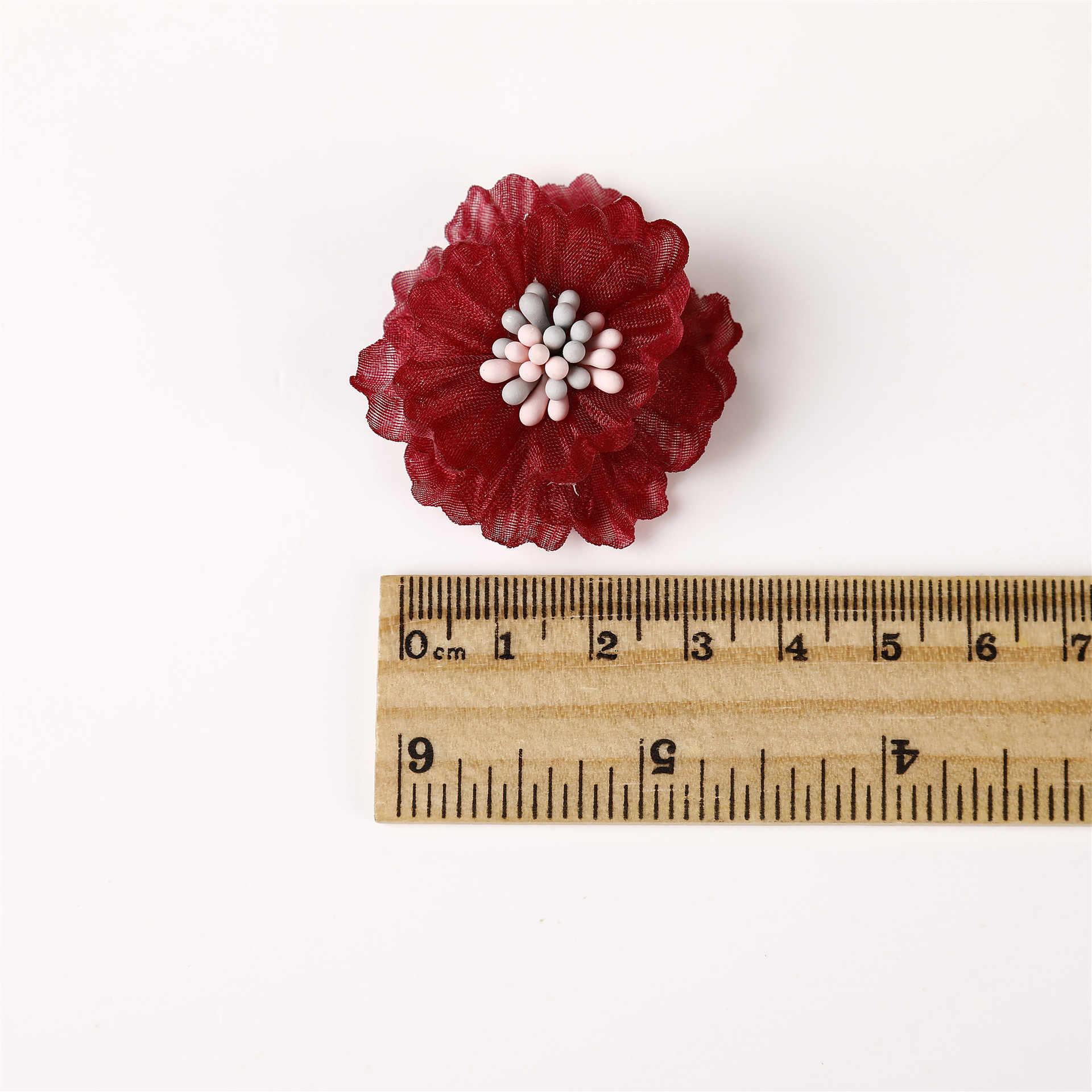 30pc 3 センチメートルカーリングおしべ花ファッションヘアアクセサリー DIY アクセサリーブティック結婚式の装飾の花なしヘアクリップ毛の弓
