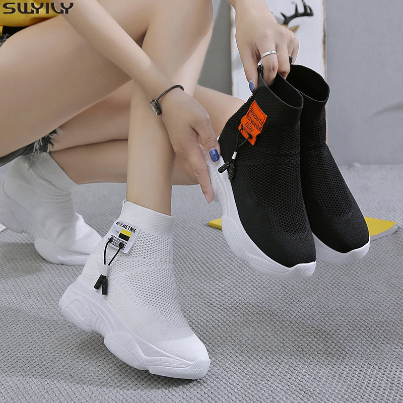 SWYIVY PU Chaussure Femme Mesh Sock Casual Shoes Women Sneakers 2019 Autumn Wedge Platform Sneakers For Women White Ladies Shoe