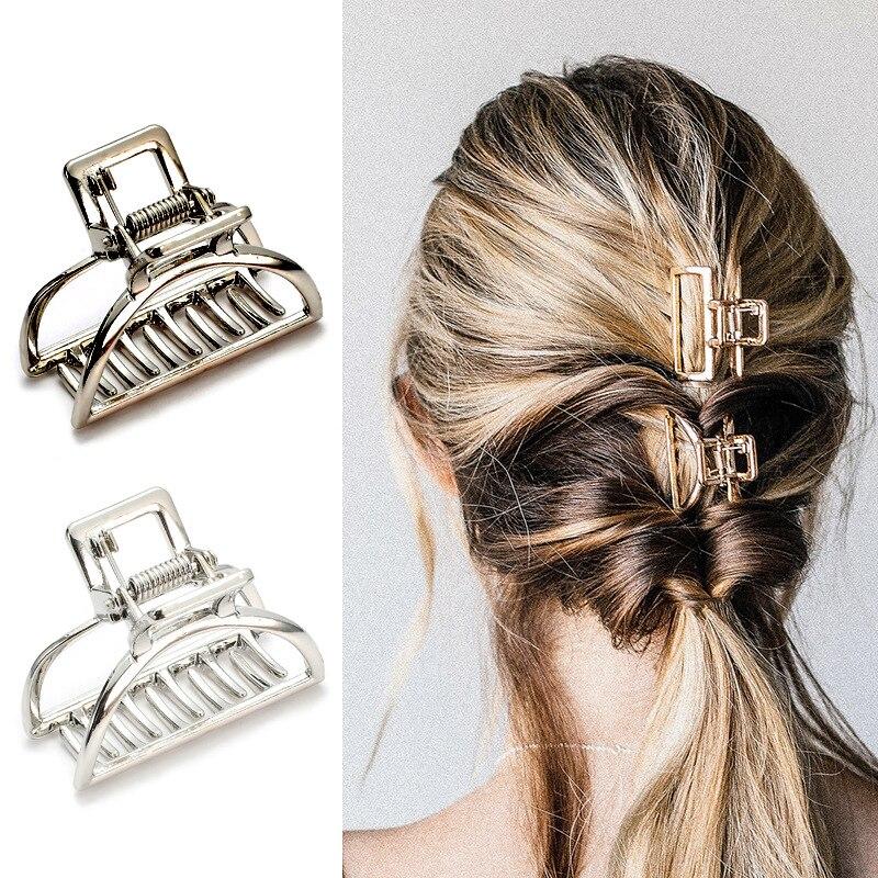 4cm*2.9cm Metal Hair Claw Geometric Square Rose Gold Hair Clip For Women Girl Hair Accessories Modern Stylish Hair Grip Buckles