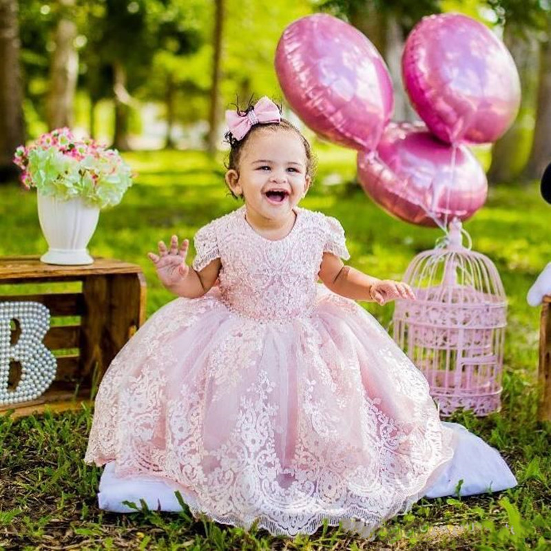 Adorable Pink Ball Girl Dresses For Birthday Lace Appliques Birthday Gowns Beaded Lace Tulle First Christening Baptism Dress