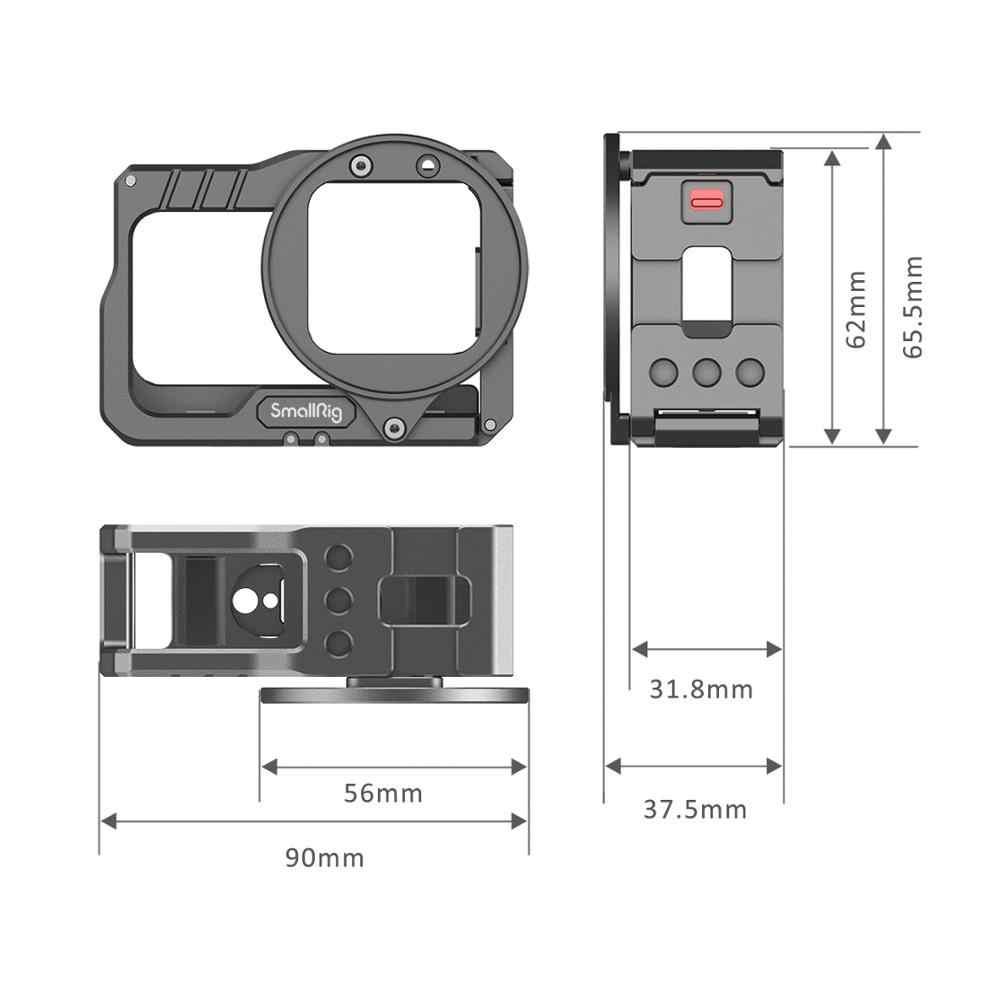 SmallRig Vlog kafes ve 52mm filtre adaptörü Insta360 bir R 4K Edition Vlog kamera kafesi Video çekim Tripod destek 2901