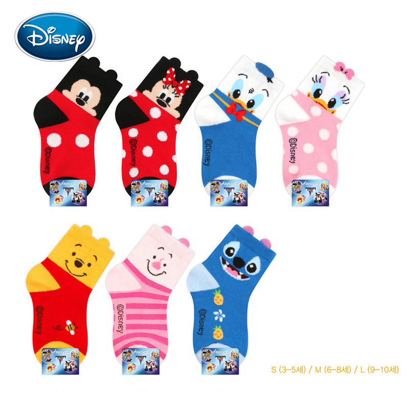 Disney Cute Baby Socks Mickey/minnie/pig Cartoon Printed Cotton Socks 3-10 Years Old Children Autumn&winter Socks