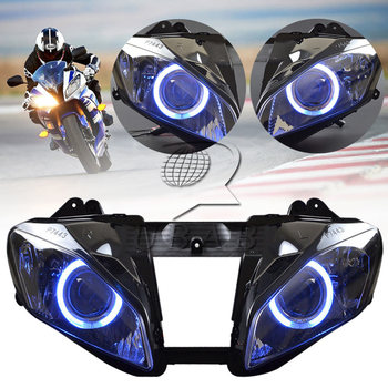 Motorcycle Headlight Assembly HID Projector Conversion LED Blue Angel Eyes DRL High Low Beam Headlamp For Yamaha YZF R6 08-15 image