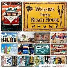 Playa Vintage estaño signo Bar cafetería tienda casa restaurante decoración de pared Retro Metal arte cartel