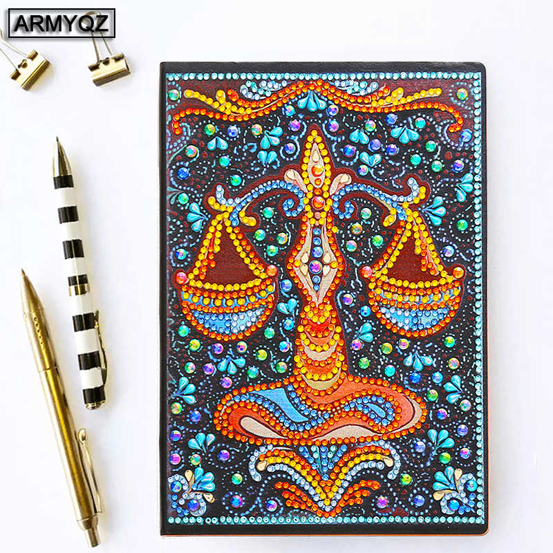 Armyqz Diy Diamond Embroidery Notebook Special Shaped Diamond