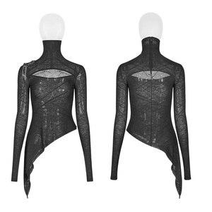 Image 4 - PUNK RAVE Neue Schwarze Dünne Punk Frauen Gestrickte T Shirt Mode Dark Hübsche Maske Styling Tees Design Brust Gothic Tops