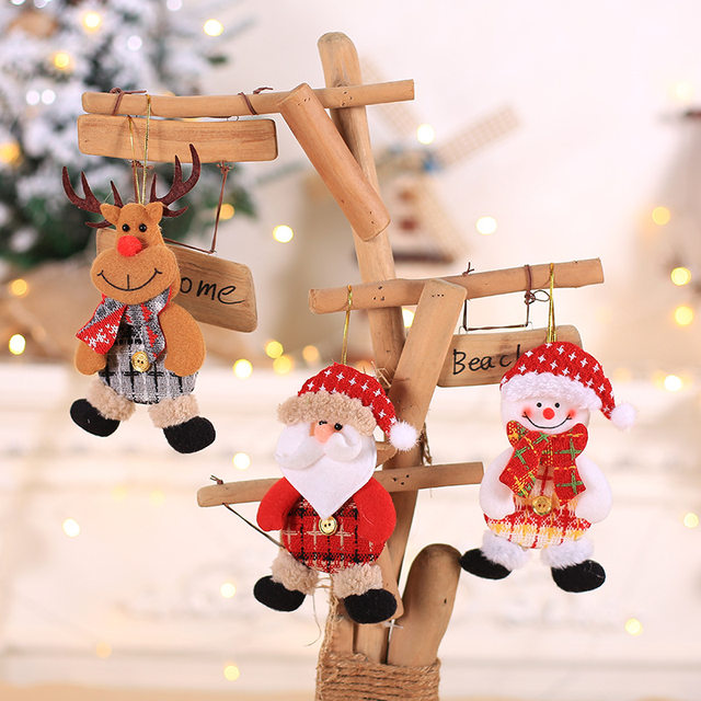 2019 New Small dolls Christmas tree decorations pendant Christmas day children's small gifts hanging lanyard dolls 15