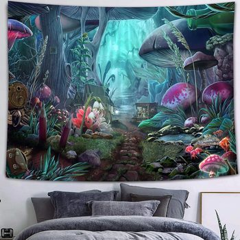 Simsant Mushroom Forest Castle Tapestry Fairytale Trippy Colorful Butterfly Wall Hanging Tapestry for Home Dorm Fantasy Decor 43