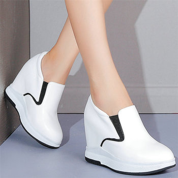 Low Top Trainers Women Genuine Leather Wedges High Heel Platform Pumps Shoes Female Pointed Toe Fashion Sneakers Casual Shoes