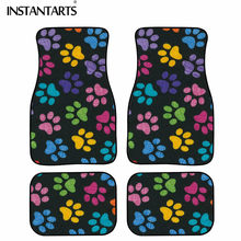 INSTANTARTS Cute Full Set Carpet Car SUV Truck Floor Mats Dog Paw Colorful Design Vehicle Universal Foot Carpet fit All Weather(China)